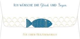 Kuvert für Geld- Gutscheingeschenk ...Glück u. Segen  Fisch