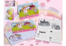 Happy People Einladungskarten Mädchentraum, Motiv: Prinzessin & Einhorn