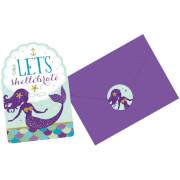 8 Einladungskarten & Umschläge Mermaid Wishes