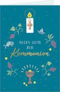 Grußkarte: Alles Gute zur Kommunion (petrol) mit Kreuz-Anhänger