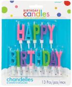 13 Buchstaben-Kerzen Happy Birthday Kräftige Farben