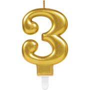 Zahlenkerze 3 Sparkling Celebrations Gold