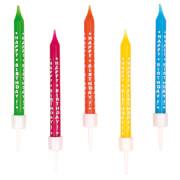 10 Geburtstagskerzen Happy Birthday mehrfarbig