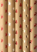 Geschenkröllchen Shining Moments 1,5 m x 70 cm, Kraftpapier braun, Hotfoil-Print