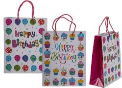 Papier Geschenktüte Happy Birthday sortiert