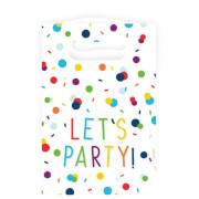 8 Partytüten Confetti Birthday Papier 15,7 x 23,6 cm