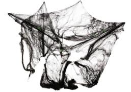 Spinnennetz schwarz 60g mit 4 Spinnen, Karnevalskostüm