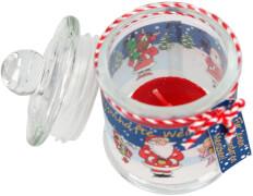 Weihnachtliches Bonbonglas mit Teelicht