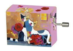 fridolin - Spieluhr - Happy Birthday - Zwei Katzen mit Blumen