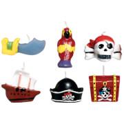 6 Mini-Kerzen Pirates Treasure 3 cm