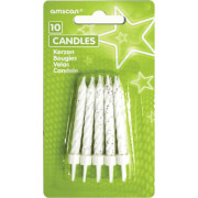 10 Glitzerkerzen mit Kerzenhaltern weiß