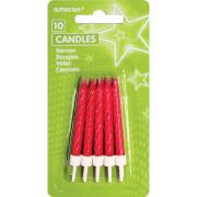 10 Glitzerkerzen mit Kerzenhaltern pink