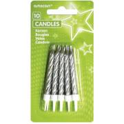 10 Spiralkerzen mit Kerzenhaltern silber
