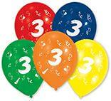 10 Latexballons Zahl 3 25,4 cm/10''