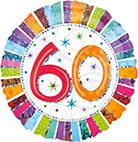 Standard Radiant Birthday 60 Folienballon S55 verpackt