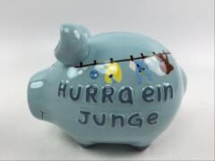 Sparschwein ''Hurra ein Junge'' - Kleinschwein von KCG - Höhe ca. 9 cm