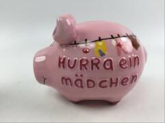 Sparschwein ''Hurra ein Mädchen'' - Kleinschwein von KCG - Höhe ca. 9 cm
