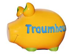 Sparschwein ''Traumhaus'' - Kleinschwein von KCG - Höhe ca. 9 cm
