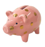 Sparschwein Viel Glück (mit goldenen Punkten)