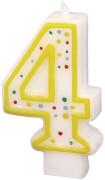 Amscan Zahlenkerze ''4'' (Motiv), Wachs, ca. 14x8x2 cm