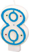 Amscan Zahlenkerze ''8'' (Motiv), Wachs, ca. 14x8x2 cm