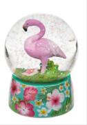 Polyresin-Glitterkugel, Flamingo, auf Sockel mit Blumenmotiv, ca. 8,5x6,5 cm