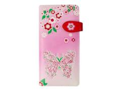 Langbörse Blumen mit Schmetterl. rosa