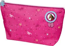 Die Spiegelburg - Pferdefreunde Kulturtasche, pink, mit Glimmer + Stickerei, ca.  25 x 15 x 7 cm