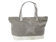 Canvas Shopper taupe mit Stern