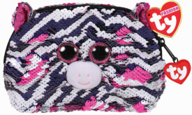 TY ZOEY ZEBRA ACCESSORY BAG - SEQUINED