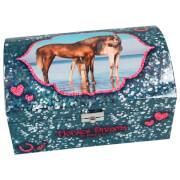 Depesche 8933 Horses Dreams Schmuckkästchen  mit Geheimfach, Motiv 1, blau