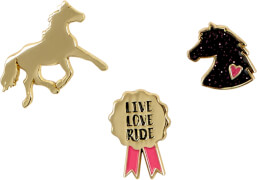 Die Spiegelburg 15219 I LOVE HORSES - Pins, vergoldet (3 St.)