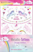 Metallic Tattoos Einhorn-Paradies (mit Silberfolie)