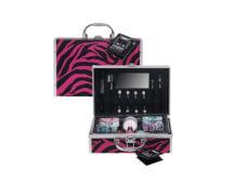 Alu Kosmetikkoffer Zebra pink / schwarz
