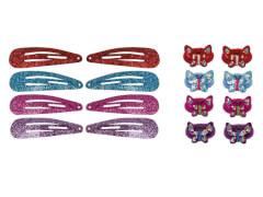 Set CC-Clip und Haargummi mit Schmetterl. 4  Farben
