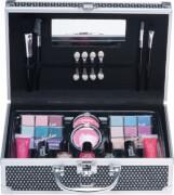 Schwarzer Glitter Casuelle Kosmetikkoffer mit Relief Muster