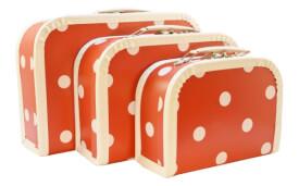 KERSA Kofferset 3tlg rot mit Punkte