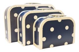 KERSA Kofferset 3tlg blau mit Punkte