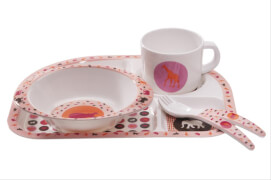 Lässig Dish Set Melamine Savannah pink
