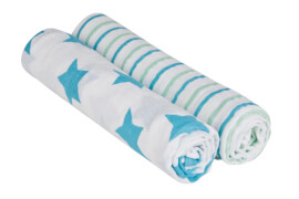 Lässig Swaddle & Burp Blanket X-large Stars&Stripes boys