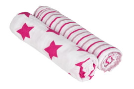 Lässig Swaddle & Burp Blanket X-large Stars&Stripes girls