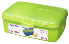 Lunchbox Slimeline Quaddie Grün 1,5 L + Flasche