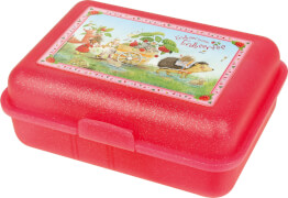 Brotdose (rot). Erdbeerinchen mit Karren