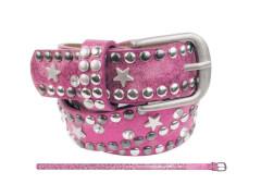 Kinder Gürtel Nieten Strass + Stern pink 60cm