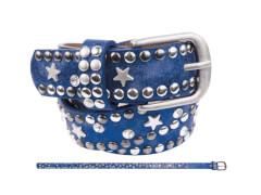 Kinder Gürtel Nieten Strass + Stern blau 55 cm
