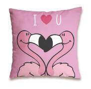 NICI Kissen Flamingo ''I <3 U'' Baumwolle 37x37 cm