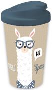 Coffee to go Becher Lama Spucken doppelwandig, beige, 400 ml