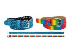 Kinder Gürtel Set Regenbogenf.+hellblau 60 cm