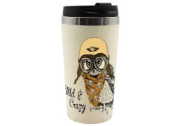 Coffee to go Becher Vintage Eule Bambus, 400ml