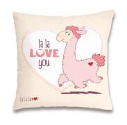 Kissen ''la la Love you'' Baumw
